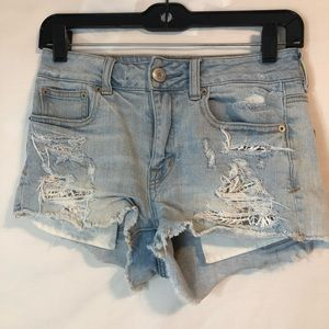 AMERICAN EAGLE OUTFITTERS Lace Distressed Shorts